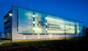 tecnologico de monterrey lit up at night