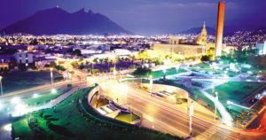 nighttime skyline in monterrey mexico